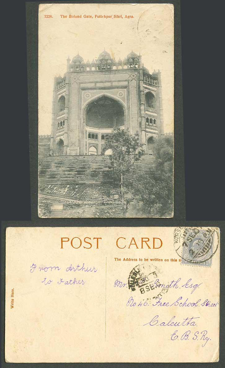 India KE7 3p on 1907 Old Postcard The Bolund Gate, Futtehpur Sikri, Agra No.7228