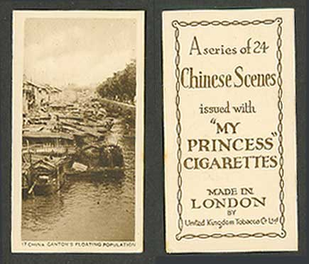 Chinese My Princess Cigarettes Old Card China Canton's Floating Population Boats