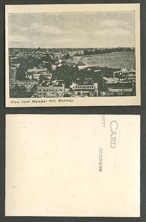 India Indian Old Small Card View from Malabar Hill Bombay, Panorama General View