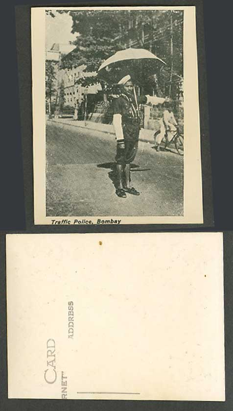 India Indian Old Small Card Traffic Police Native Policeman Street Scene Cyclist