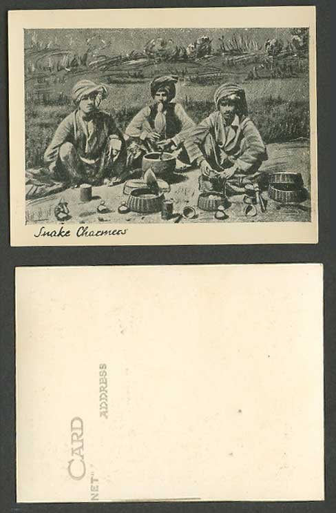 India Old Small Card Snake Charmers Native Snakes Charmer Jugglers & Pungi Flute