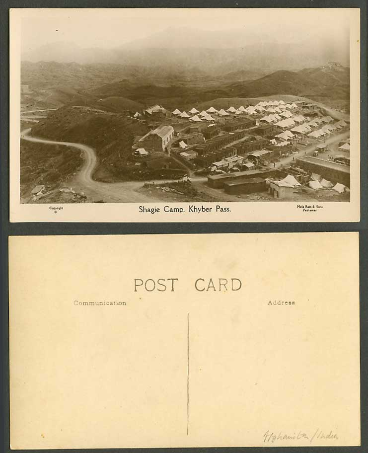 Afghanistan Pakistan Shagie Camp Khyber Pass Hills Tents Old Real Photo Postcard