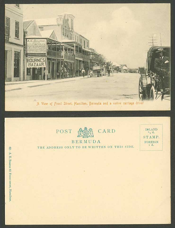Bermuda Old Postcard Hamilton Front Street Native Carriage Driver Bournes Bazaar