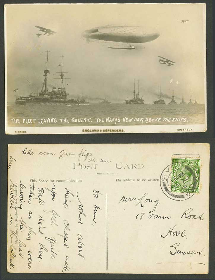 Fleet Leaving The Solent Navy New Arm Zeppelin Biplane Warship 1914 Old Postcard