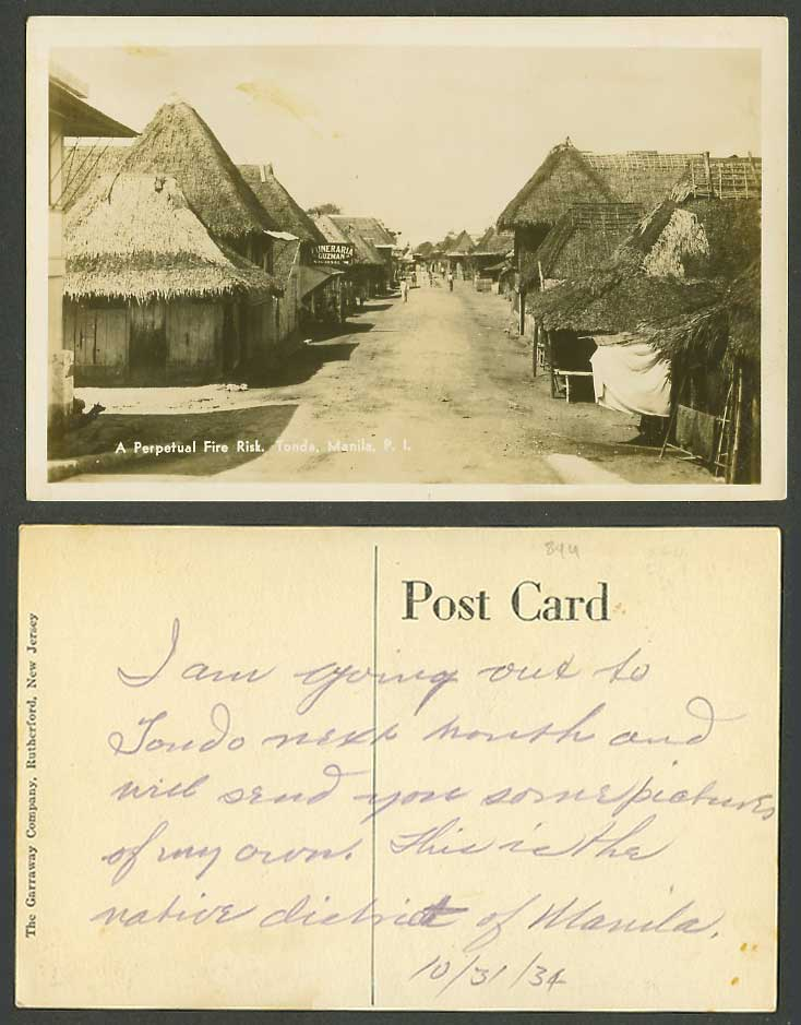 Philippines Old Postcard Manila Tondo A Perpetual Fire Risk, Street Scene Houses