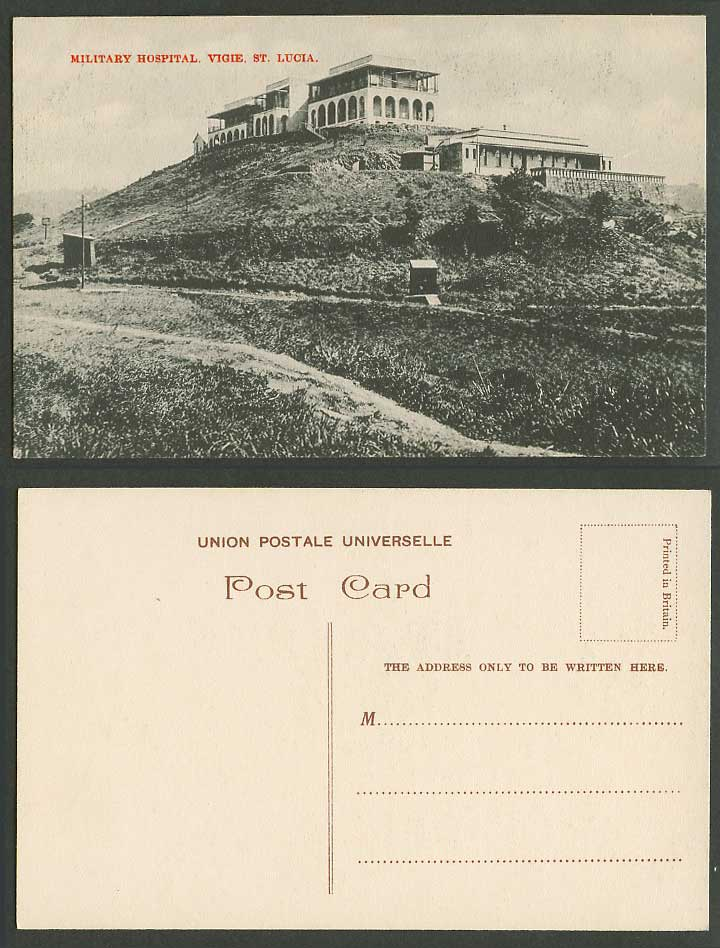 Saint St. Lucia Military Hospital Vigie, Castries Hill General View Old Postcard