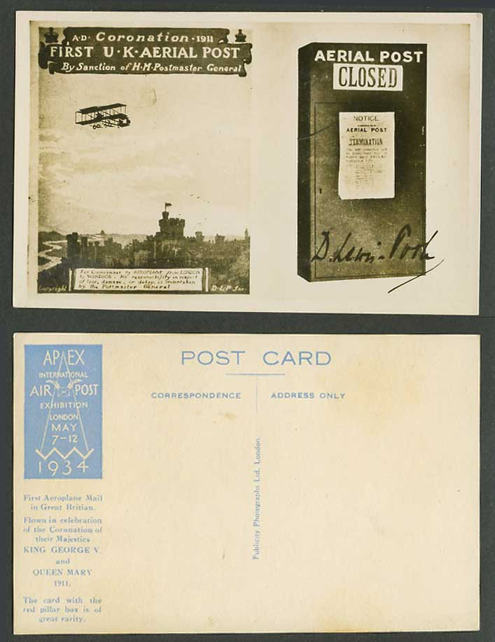 Biplane 1st UK Aerial Post Coronation 1911 APEX Air Exhibition 1934 Old Postcard