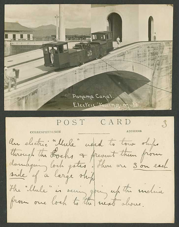 Panama Canal Electric Towing Mule Train with U.S. 652, Bridge Old Photo Postcard
