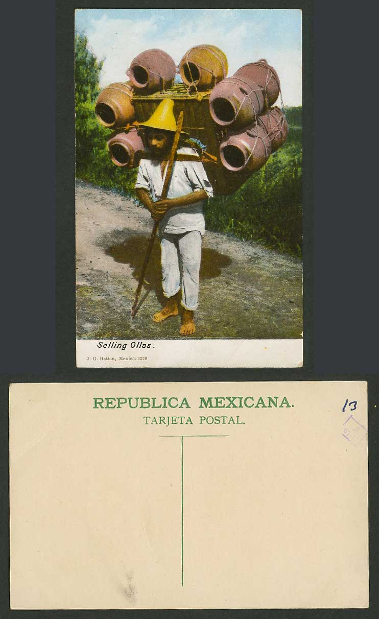 Mexico Old Colour Postcard Selling Ollas Native Mexican Seller Vendor Carry Jars