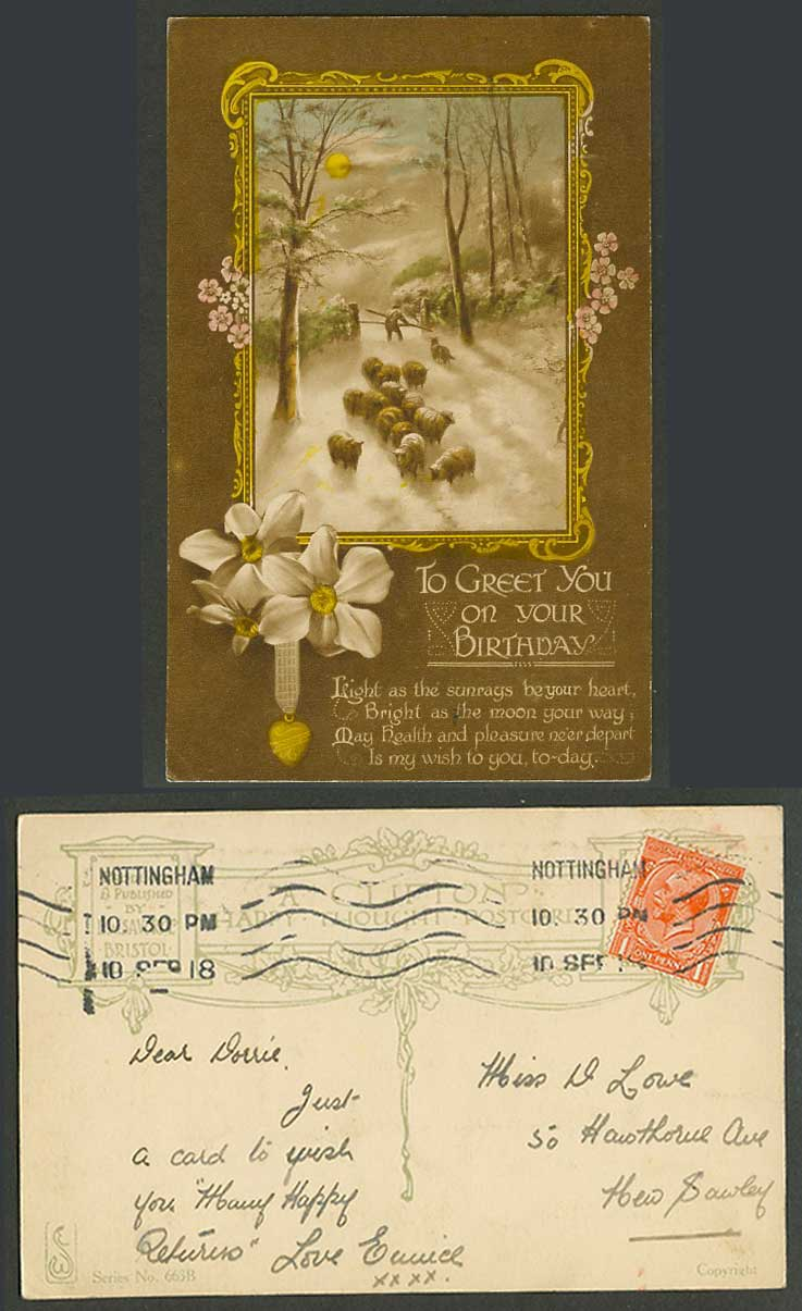 Sheep & Shepherd Snow, To Greet You on Your Birthday Greetings 1918 Old Postcard