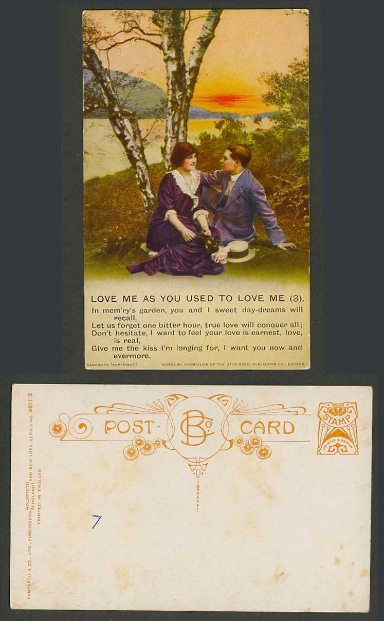 Love Me As You Used to Love Me (3) Song Card Romance River Bamforth Old Postcard