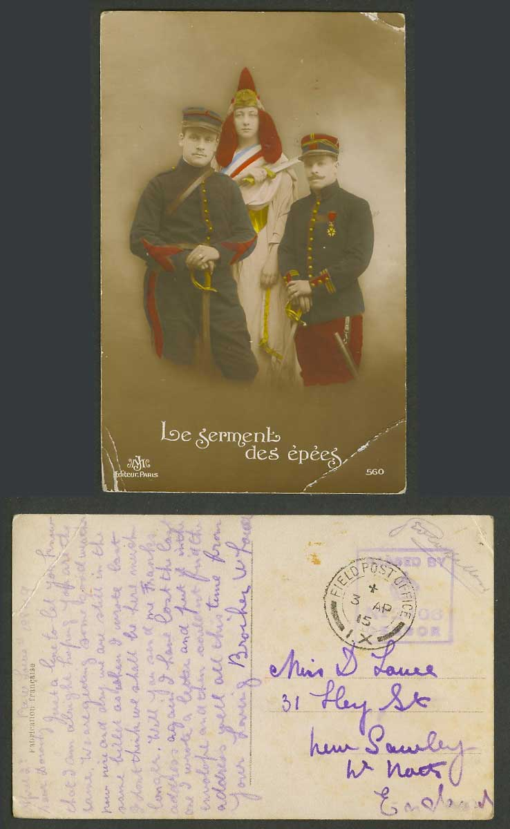 WW1 Soldiers Military Uniform Oath of Swords 1915 Old Postcard Field Post Office
