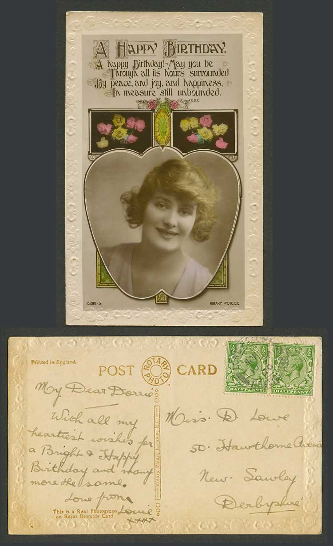 GLAMOUR Vintage cWW1 BIRTHDAY Real Photo Postcard FASHION Bouquet