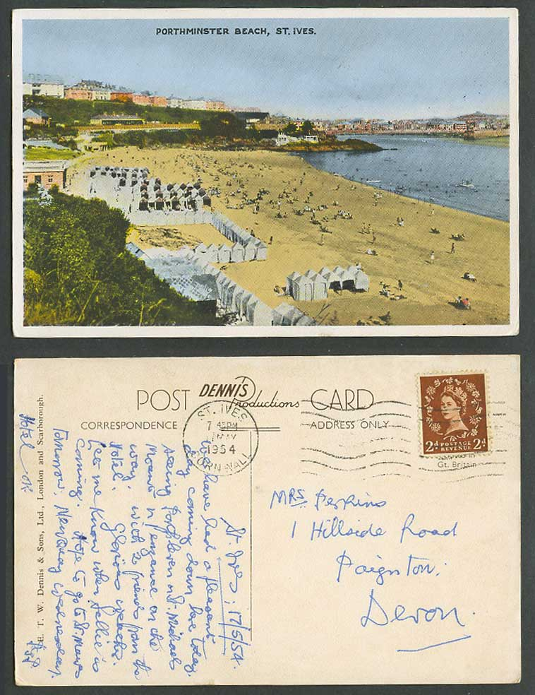St. Ives 2d. 1954 Old Postcard Porthminster Beach Huts Seaside Panorama Cornwall