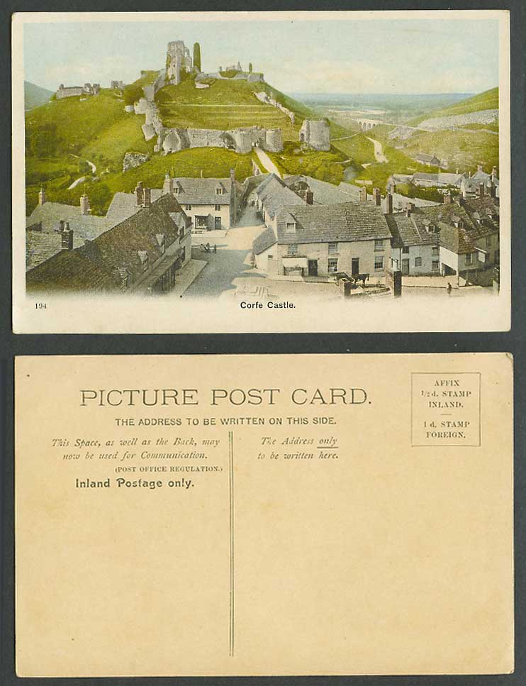 Corfe Castle Dorset Old Colour Postcard Street Scene Ruins Panorama General View