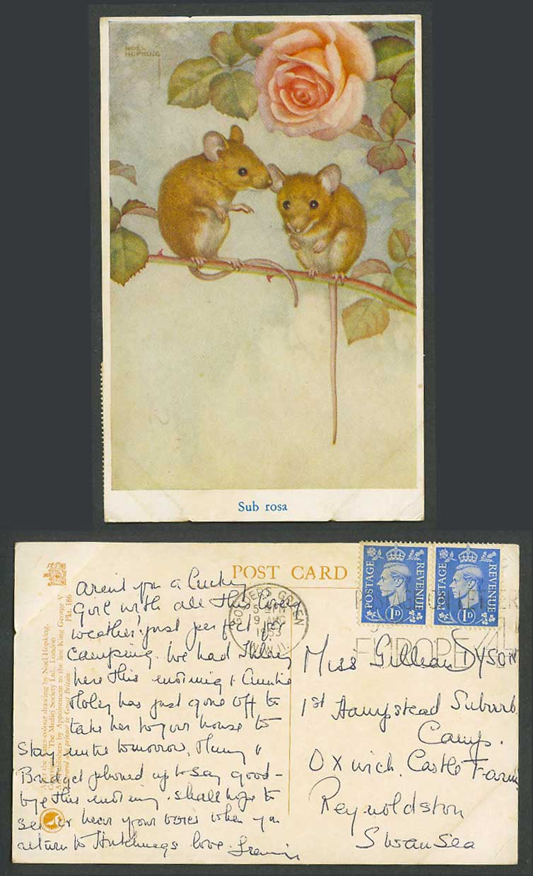 Noel Hopking Artist Signed Old Postcard Sub Rosa Mice Rats Mouse Rose Flower ART