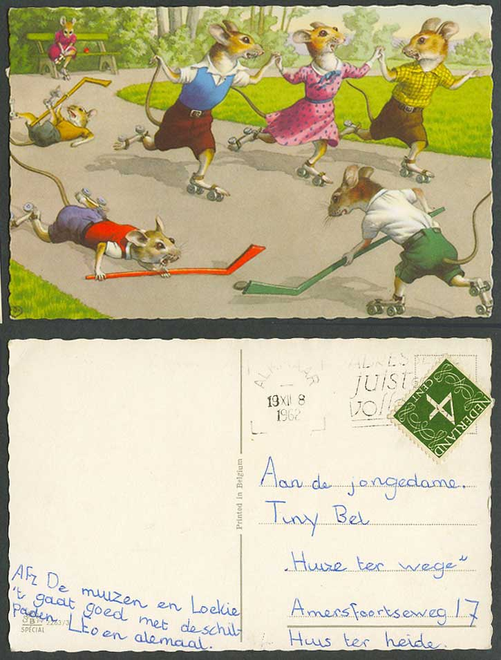 Hockey Skating Sport, Dressed Rats Mice Playing Comic Dutch 4c 1962 Old Postcard