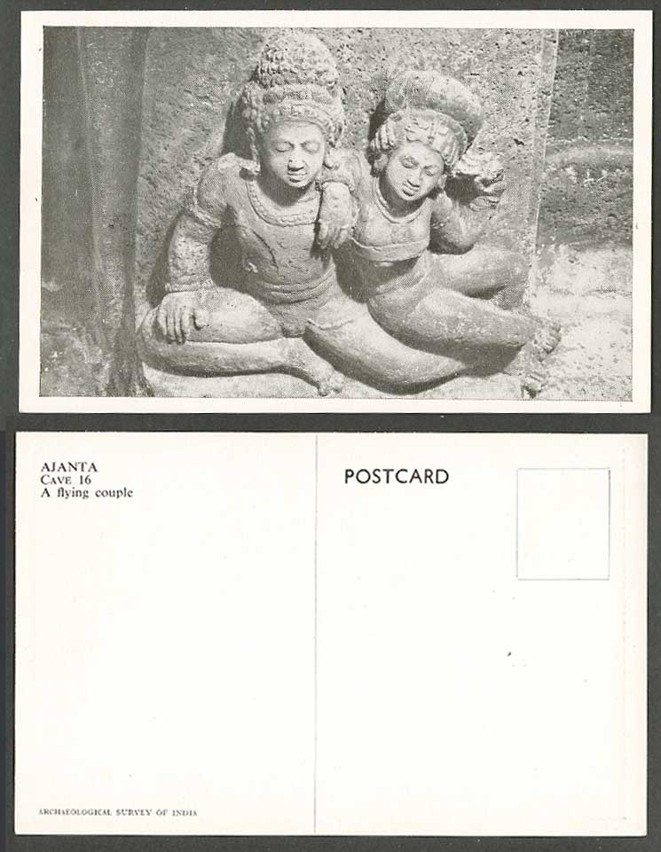 India Old Postcard Ajanta Cave 16 A Flying Couple Archaeological Survey of India