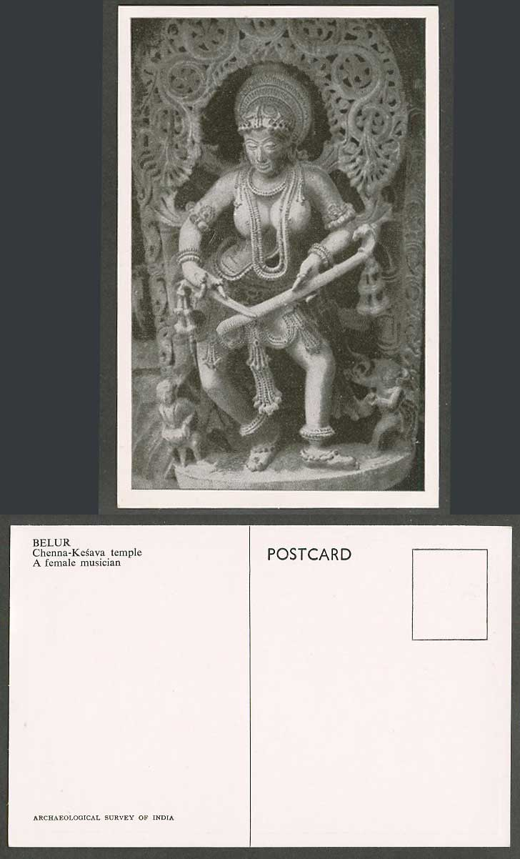 India Old Postcard Belur, Chenna Kesava Temple, A Female Musician, Music, Statue