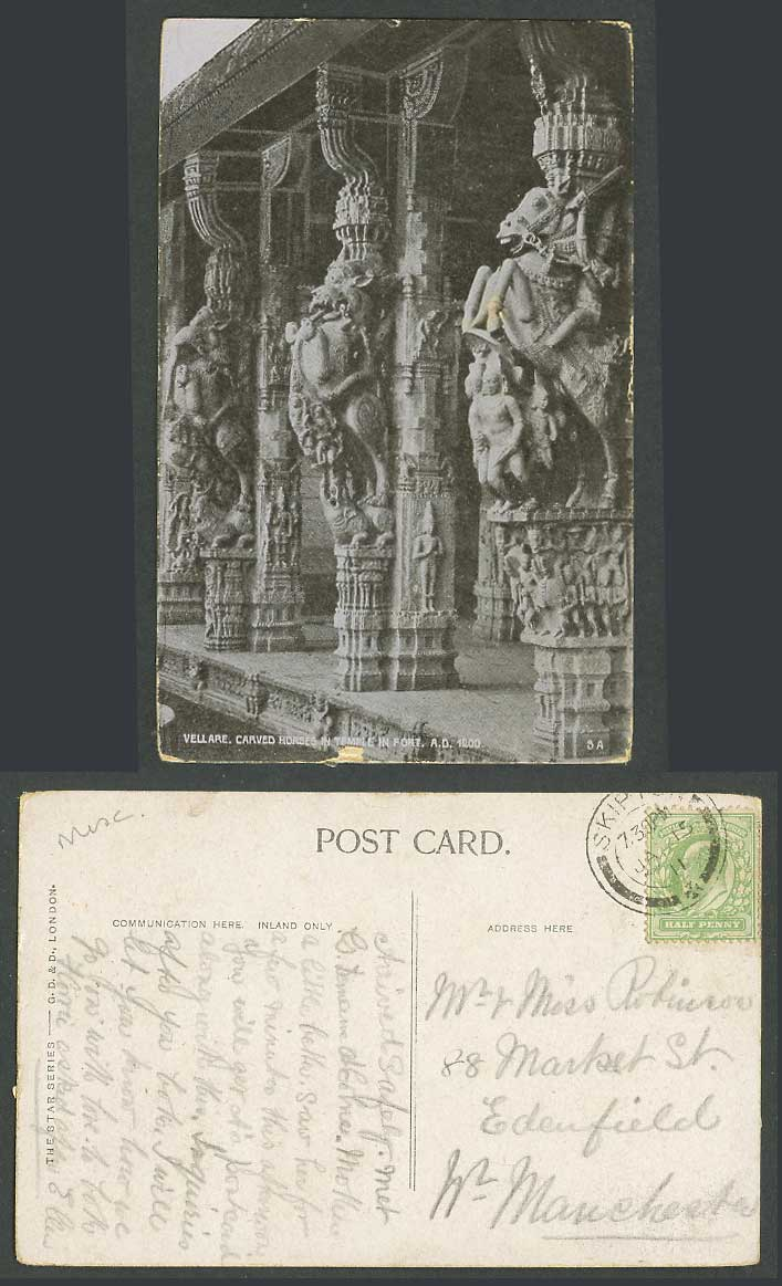 India 1/2d 1911 Old Postcard Vellore Vellare Fort Temple Carved Horses A.D. 1200