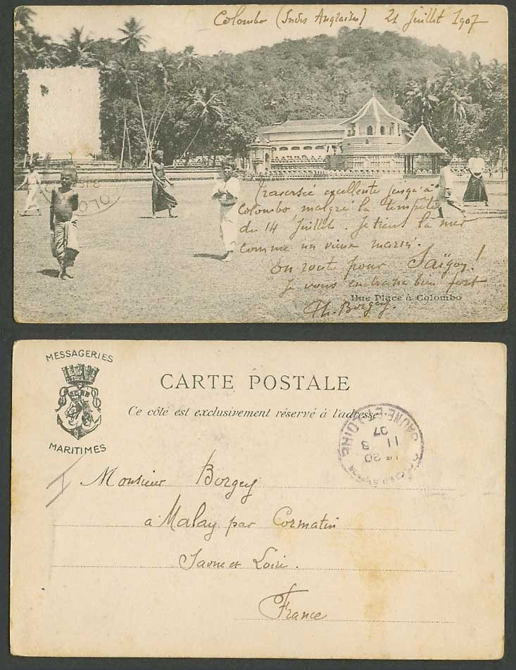 Ceylon 1907 Old UB Postcard Une Place a Colombo, Temple of Holy Tooth, Bandstand