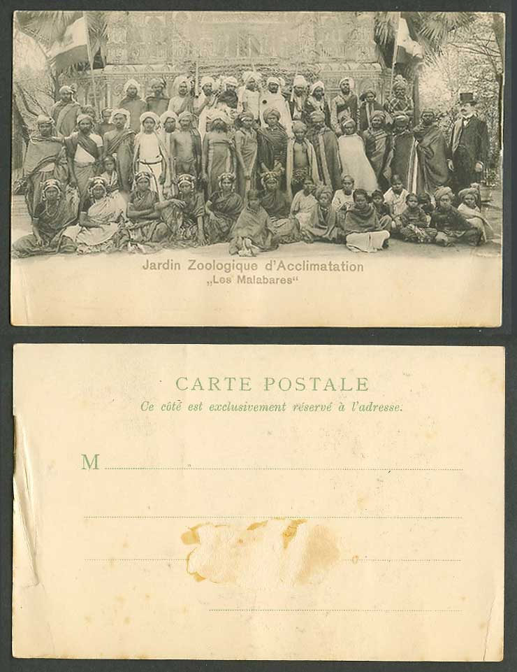 India Indian Group Jardin Zoologique d'Acclimatation Les Malabares Old Postcard