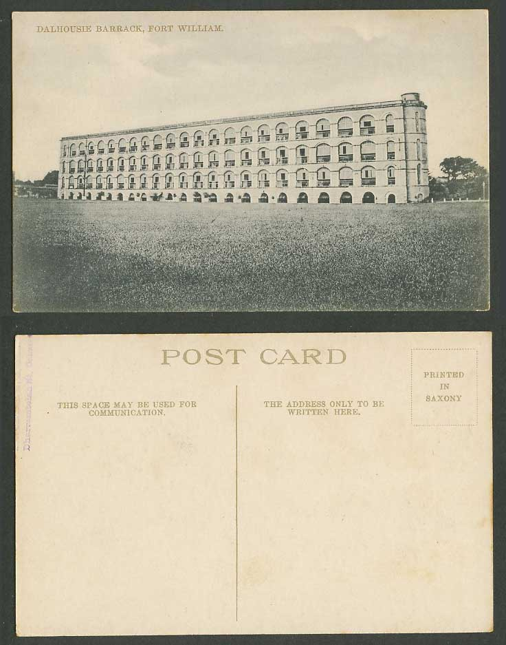 India Old Postcard Dalhousie Barrack, Fort William, Military Barracks, Calcutta
