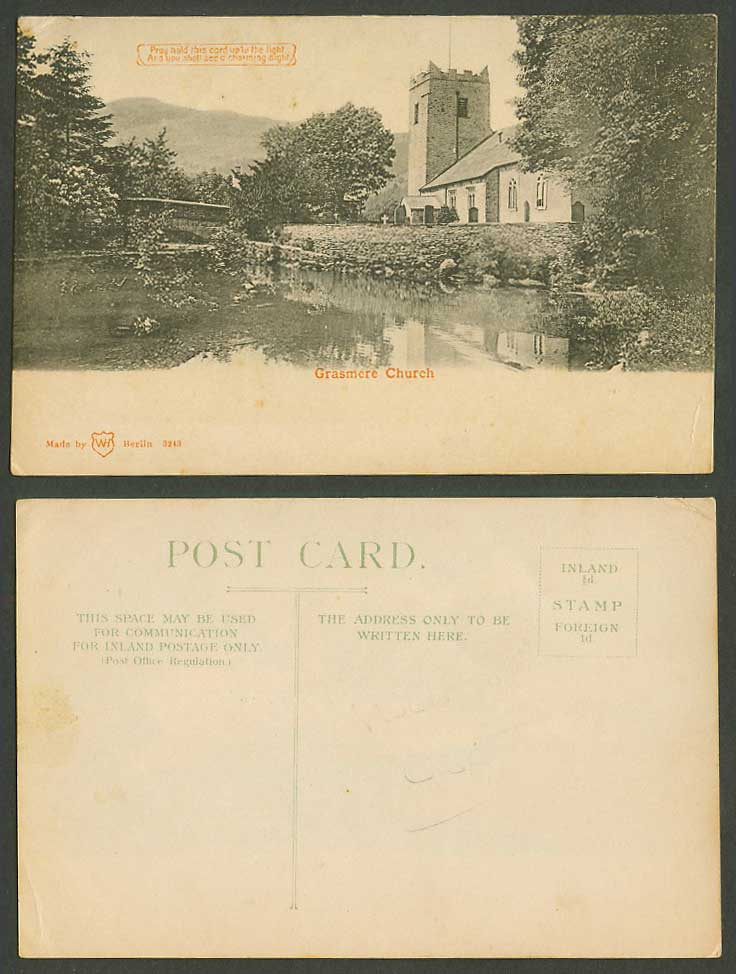 Hold To The Light HTL Novelty, St. Oswald's Church Grasmere Cumbria Old Postcard
