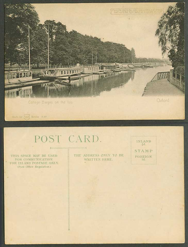 Hold To The Light College Barges on the Isis River Man Fishing 1908 Old Postcard