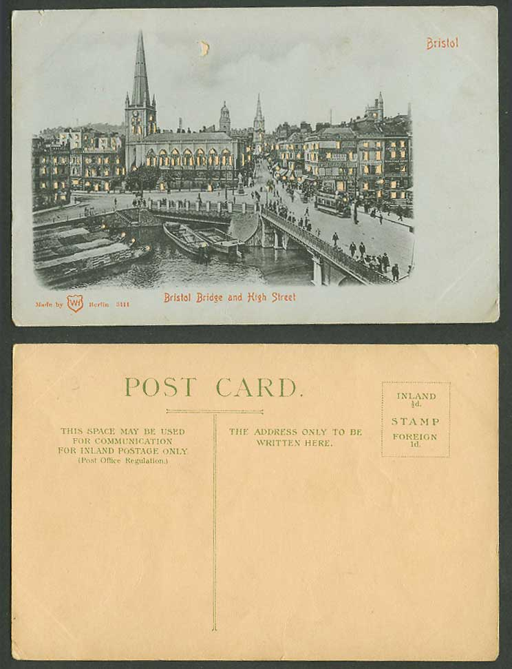 Hold to The Light, Bristol Bridge and High Street Scene, TRAM Boats Old Postcard
