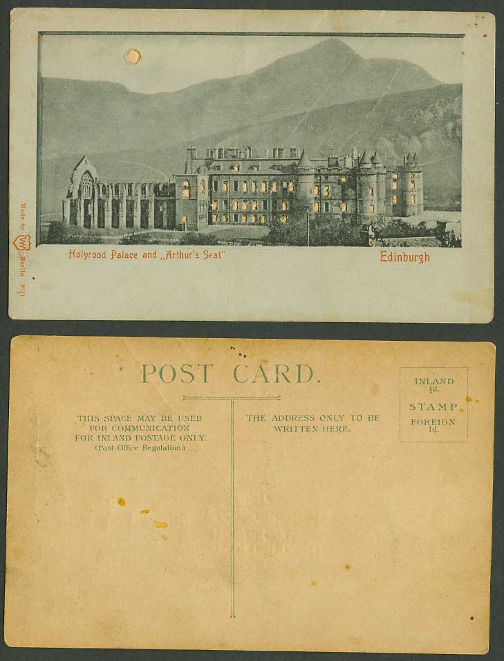 HOLD TO THE LIGHT Edinburgh, Holyrood Palace, Arthur Seat by Night Old Postcard