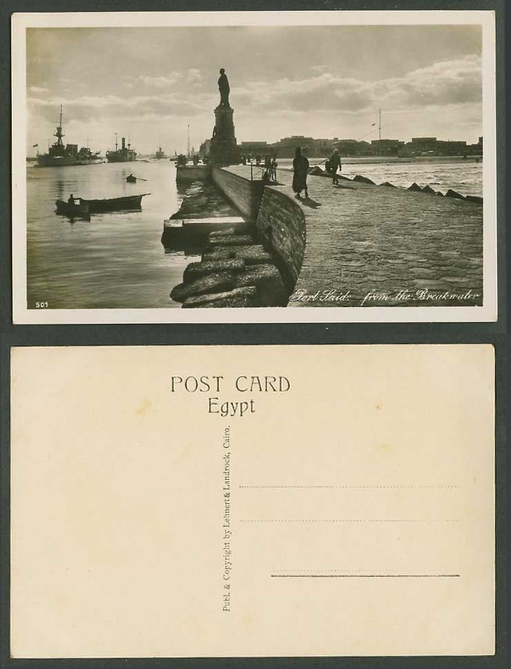 Egypt Old Real Photo Postcard Port Said from Breakwater, Lesseps Statue, Warship