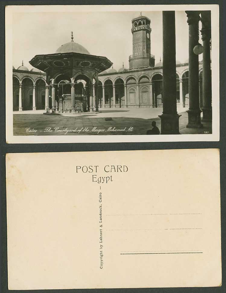 Egypt Old Real Photo Postcard Cairo, Courtyard of Mosque Mohamed Ali Clock Tower