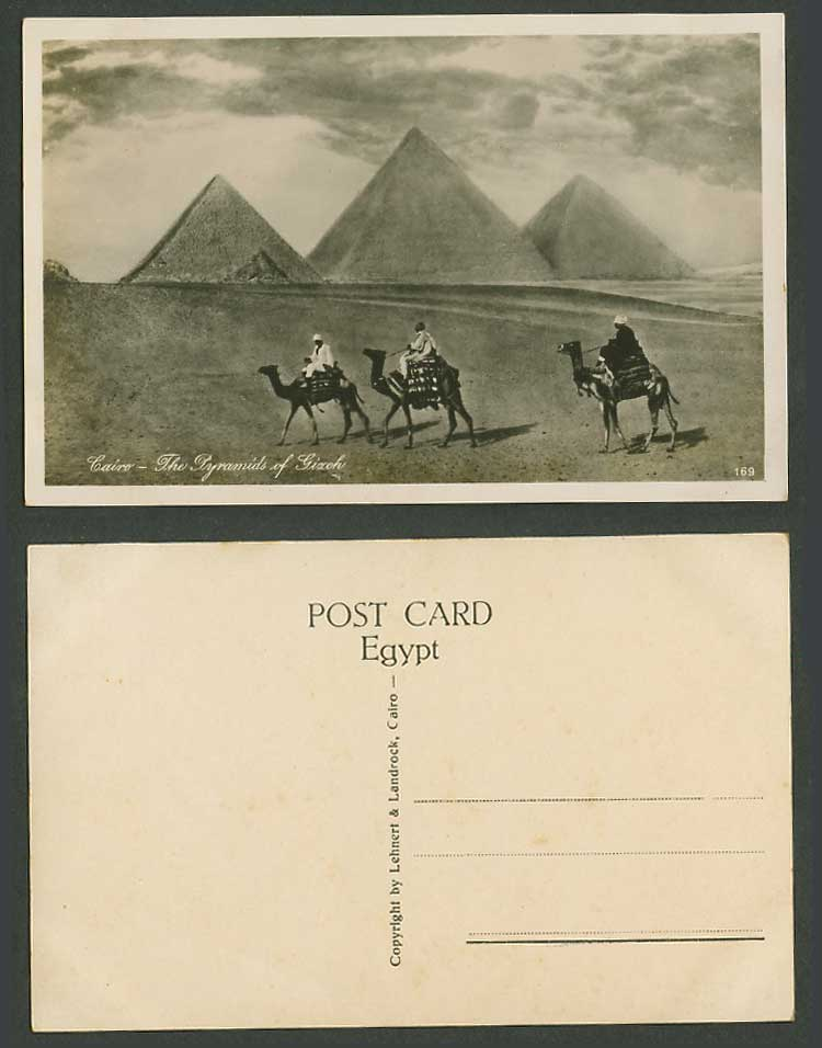 Egypt Old Real Photo Postcard Cairo Pyramids of Gizeh Giza, Camels, Camel Riders