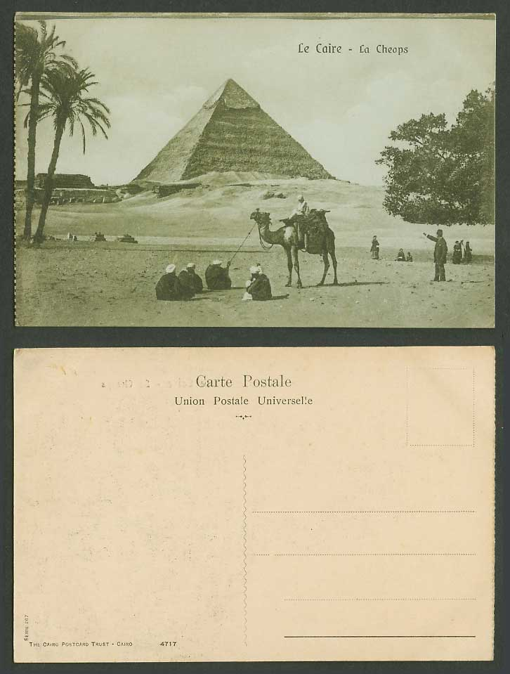 Egypt Old Postcard Cairo Pyramid Le Caire La Cheops Camel Rider Palm Tree Desert