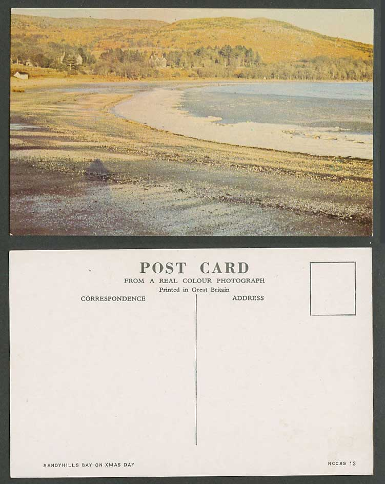 Sandyhills Bay on Xmas Day, Christmas Dalbeattie Kirkcudbrightshire Old Postcard