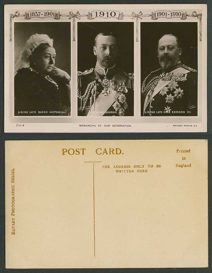 Monarchs of Our Generation, Queen Victoria King George V Edward VII Old Postcard