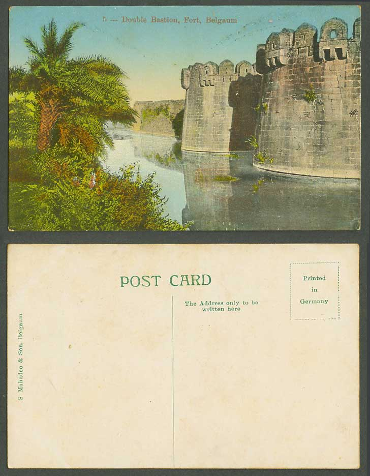 India Old Colour Postcard Double Bastion Fort Belgaum Fortress Moat Palm Tree 5.