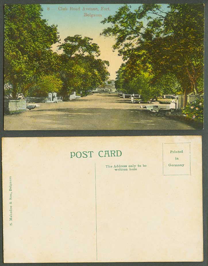 India Old Colour Postcard Club Road Avenue Fort Belgaum Fortress Street Scene 8.