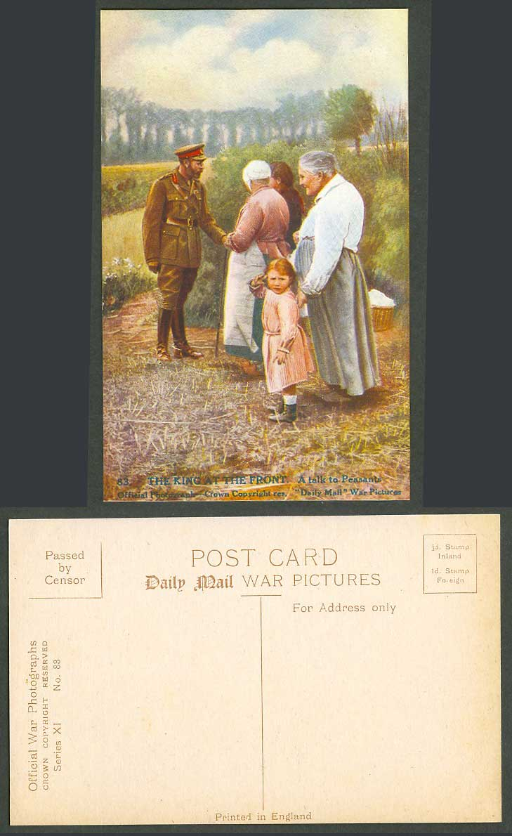 WW1 Daily Mail Old Postcard King George 5th at The Front A Talk to Peasants KGV.