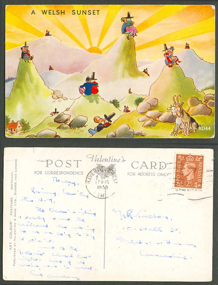 Wales Comic 1953 Old Postcard A Welsh Sunset, Mountains Animals, Romance Kissing