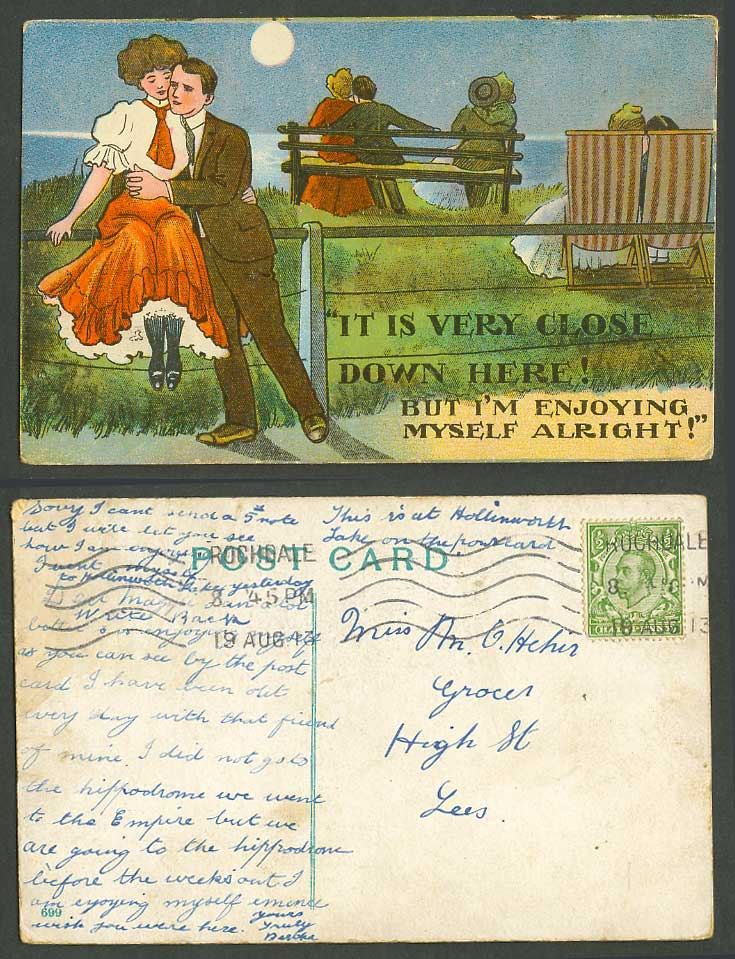 Romance It is Very Close Down Here I'm Enjoying Myself Alright 1913 Old Postcard