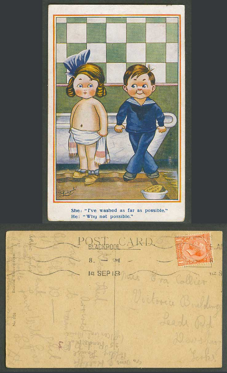 Ludgate 1918 Old Postcard Girl Washed as far as possible, Boy Why not, Bathtub