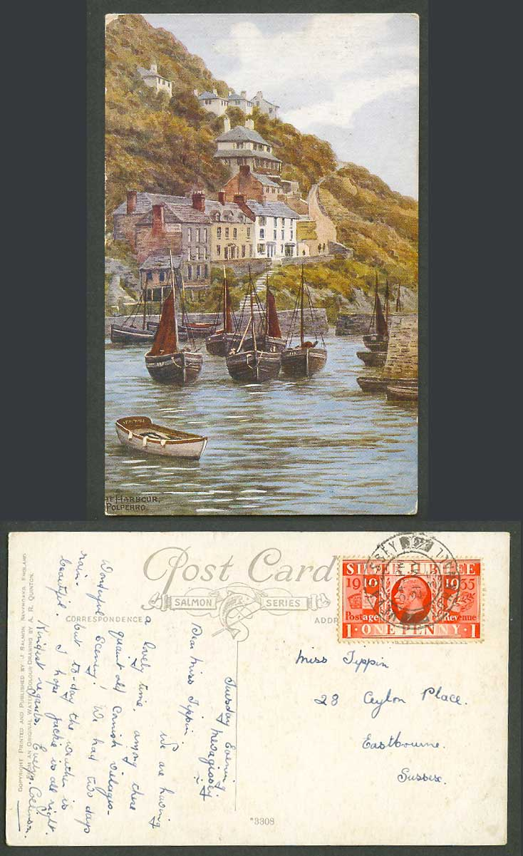 A.R. Quinton 1935 Old Postcard The Harbour Polperro, Sailing Boats Cornwall 3308