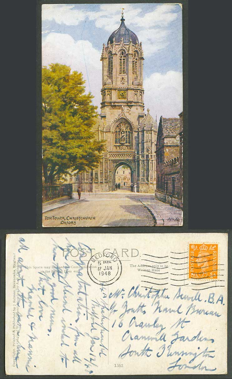 AR Quinton 1946 Old Postcard Tom Tower Christchurch Oxford Clock Tower Gate 1352