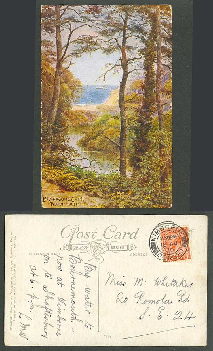 AR Quinton 1930 Old Postcard Branksome Chine Bournemouth, River Scene Dorset 927