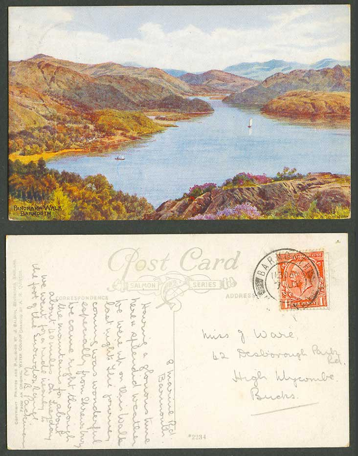 A.R. Quinton 1932 Old Postcard Panorama Walk Barmouth Wales Hills Mountains 2234