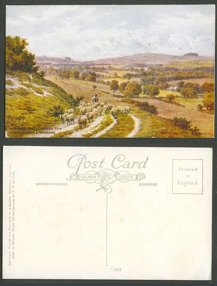 AR Quinton Old Postcard Chanctonbury Ring Cissbury Salvington Mill Worthing 1893