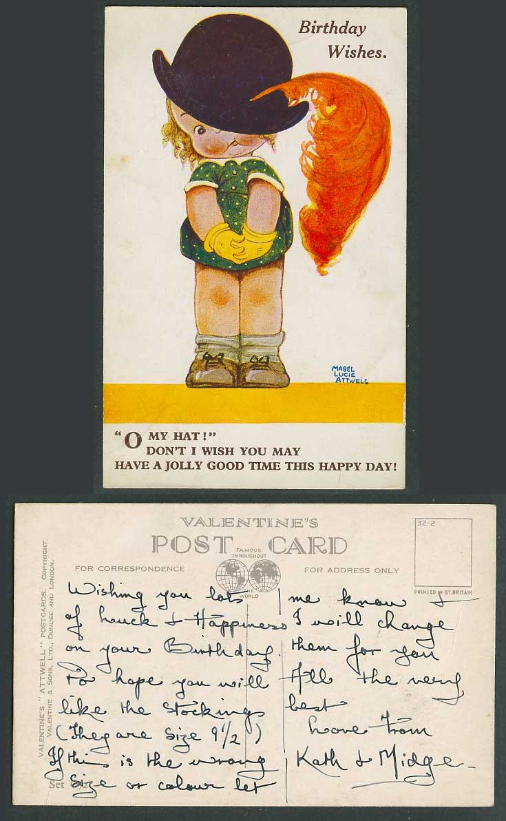 MABEL LUCIE ATTWELL Old Postcard My Hat, Birthday Wishes Jolly Good Time Set O/2
