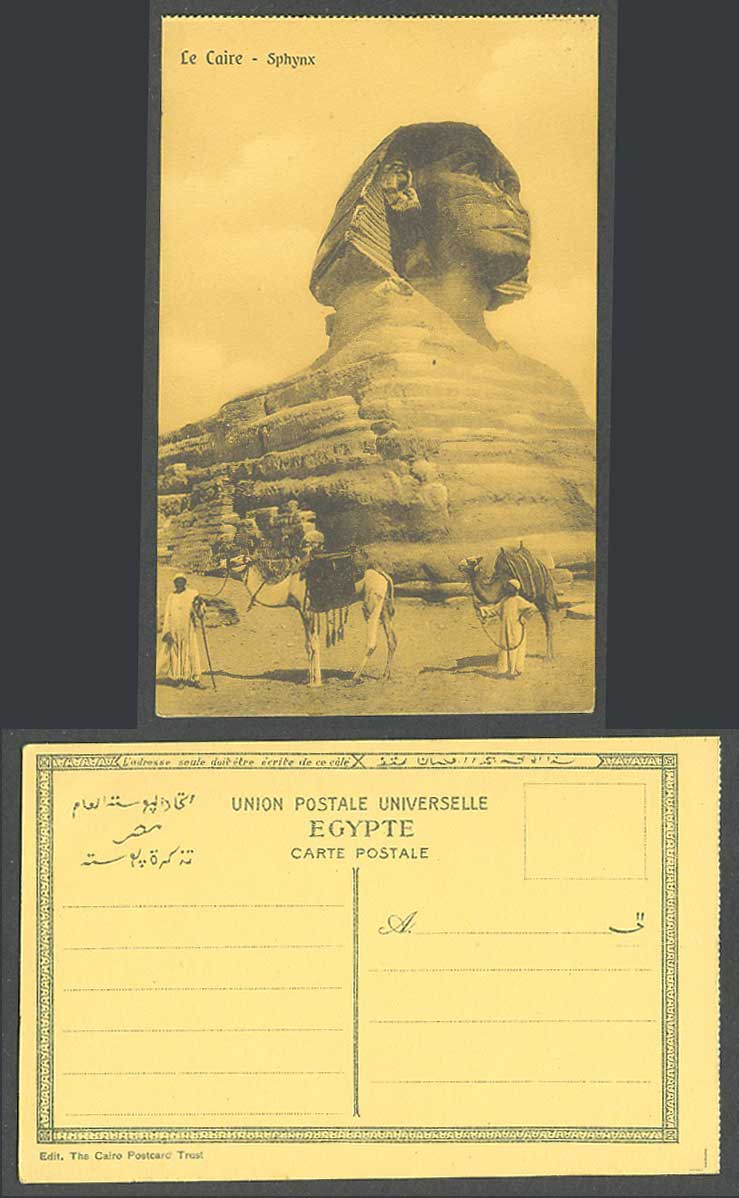Egypt Old Postcard Cairo Sphinx Le Caire Sphynx Camels and Native Bedouin Beduin